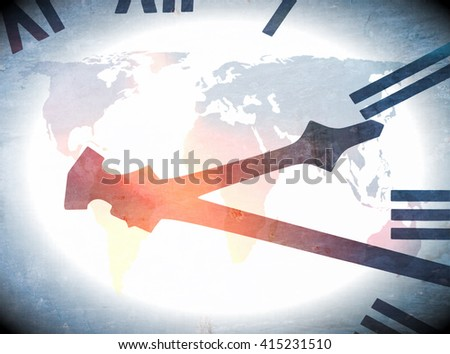 Abstract image of clock face over world map and overlaid with spots of color