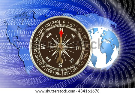 abstract image of compass and planet close up - stock photo