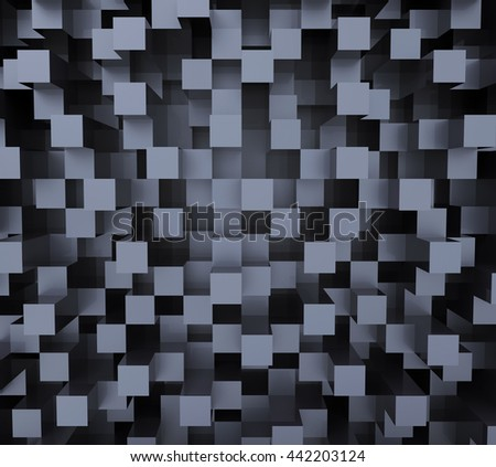 Abstract image of cubes background in blue and black toned - stock photo