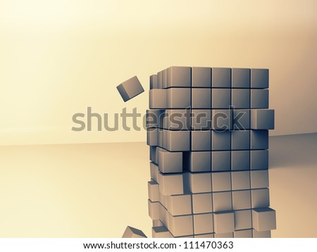 abstract image of cubes background in blue and yellow  toned