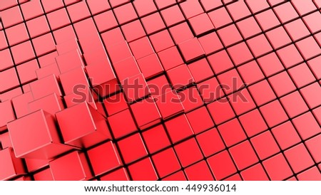 Abstract image of cubes background in red toned