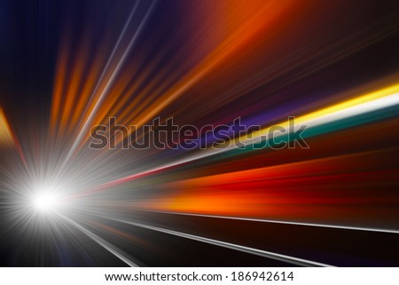 Abstract image of driving  in the tunnel at night.