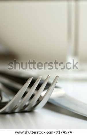 Abstract image of fork and knife
