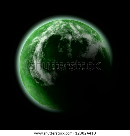 abstract image of green planet - stock photo