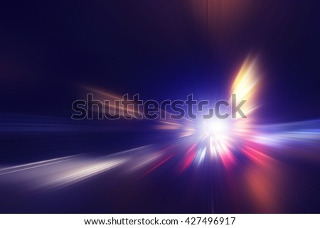 Abstract image of high speed on the road at night.