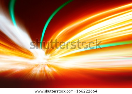 Abstract image of high speed on the road at night in tunnel. - stock photo