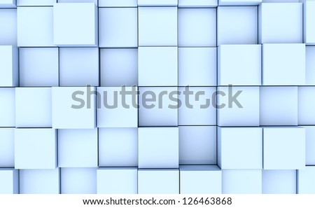 Abstract image of many blue cubes background - stock photo