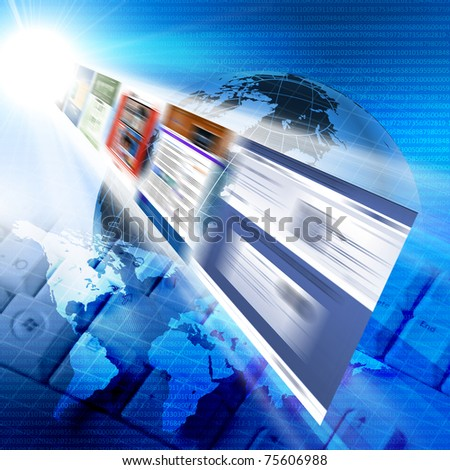 Abstract image of media streams. Symbol of the Internet and contemporary television - stock photo