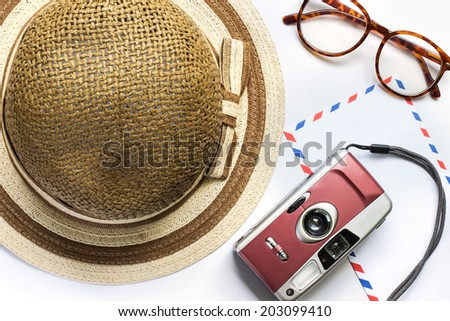 abstract image of Memory , film camera ,glasses,hat and envelope on white background - stock photo