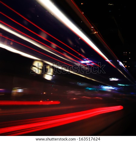 Abstract image of night traffic in the city at dark.