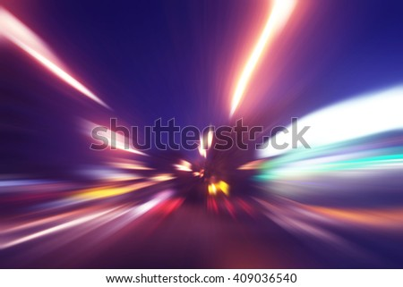 Abstract image of speed motion at night. - stock photo