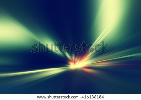Abstract image of speed motion at night in the tunnel. - stock photo