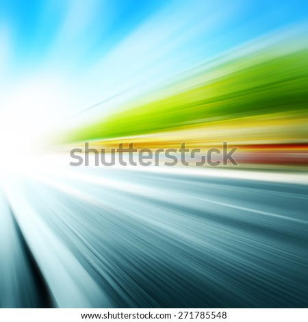 Abstract image of speed motion on the city street. - stock photo