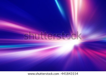 Abstract image of speed motion on the night road. - stock photo