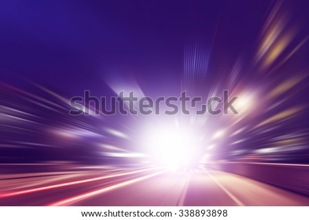 Abstract image of speed motion on the road at dark. - stock photo