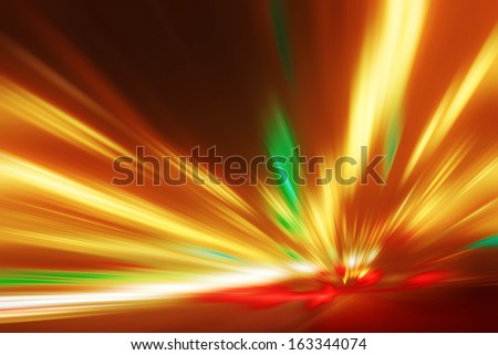 Abstract image of speed motion on the road at night time - stock photo