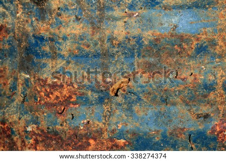 Abstract image of textures on a rusty metal sheet - stock photo