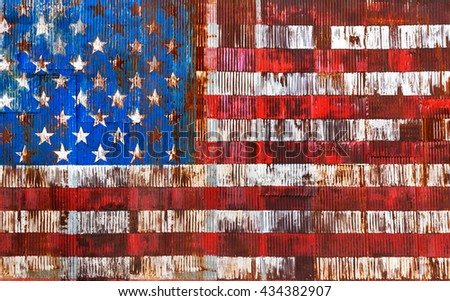 abstract image of the american flag on a rusty fence