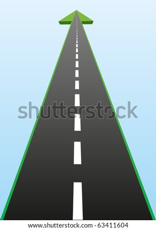 Abstract image of the road. Road with an arrow going into the distance.