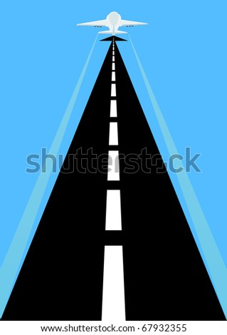 Abstract image of the runway for airplanes. - stock photo