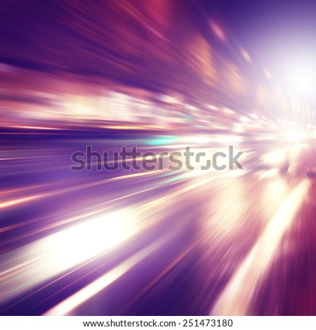 Abstract image of traffic in the city at night .  - stock photo