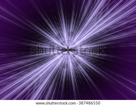 Abstract image on a space theme. Image, like a star or a comet on dark purple background. Rays radiate from the center. Fractal. - stock photo