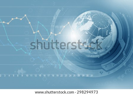 Abstract image planet earth on background of business devices