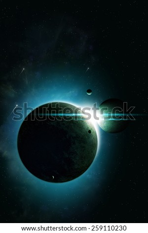 abstract imaginary deep space eclipse illustration with planets and moons