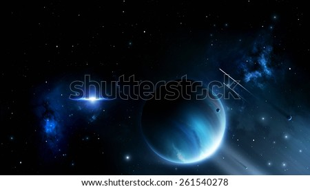 abstract imaginary deep space illustration with planets and moons