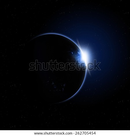 abstract imaginary solar eclipse deep space blue background