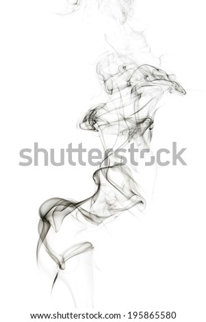 Abstract incense smoke isolated on white  background - stock photo
