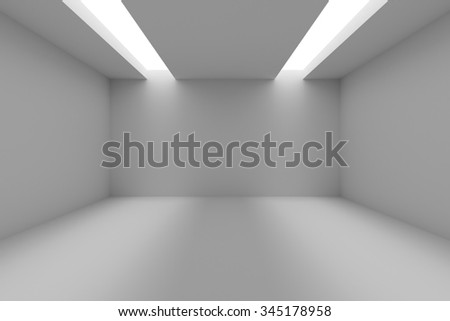 Abstract industrial architecture interior: empty room with white walls,  floor and ceiling and with