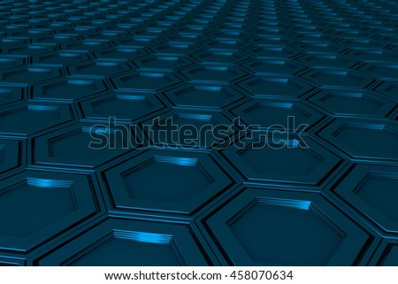 Abstract industrial background made of hexagons, 3d render illustration