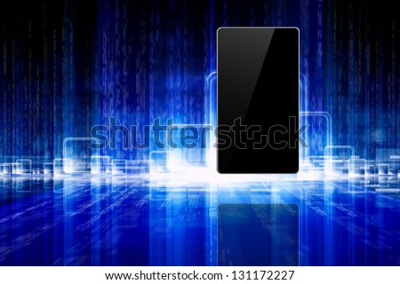 Abstract information technology background - tablet PC, smartphone, laptop on blue background