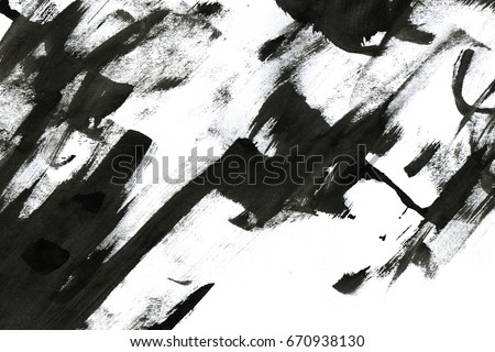 Abstract Ink Background Marble Style Black Paint Stroke Texture On White Paper Wallpaper