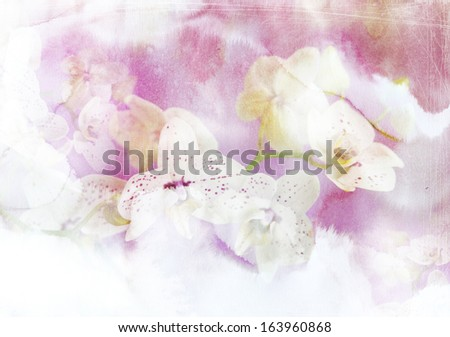 Abstract ink painting combined with orchid flowers on paper texture - floral grunge - stock photo