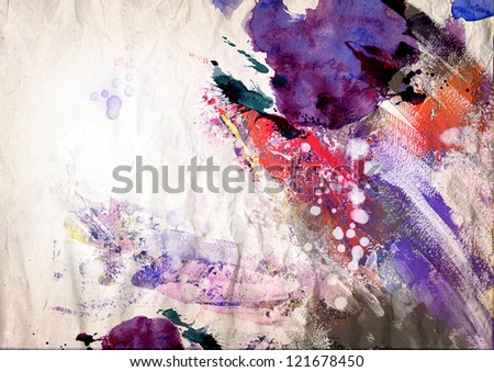 Abstract ink painting on grunge paper texture - dreamy atmosphere - stock photo