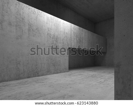 Abstract Interior Background, Doorway In Gray Concrete Walls, 3d Render  Illustration