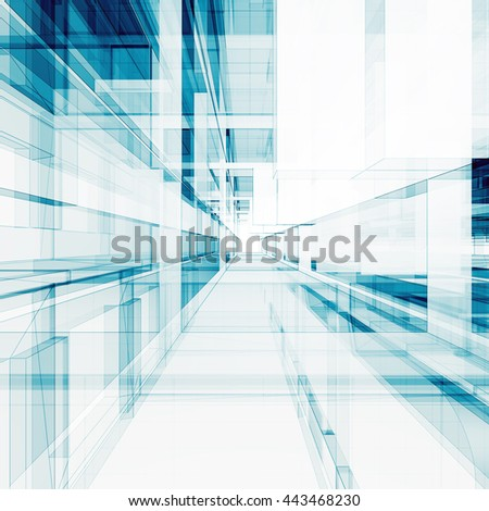 Abstract interior. Concept 3D rendering - stock photo