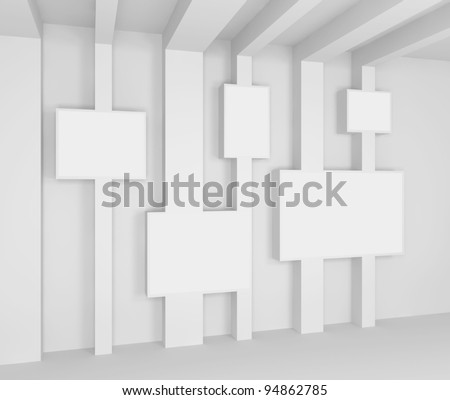 Abstract interior. Gallery. 3d illustration