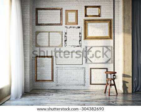 Abstract interior of assorted classic empty picture frames against a white brick wall with rustic hardwood floors. Photo realistic 3d model scene. - stock photo