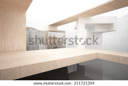 Abstract interior of wood, glass and concrete - stock photo