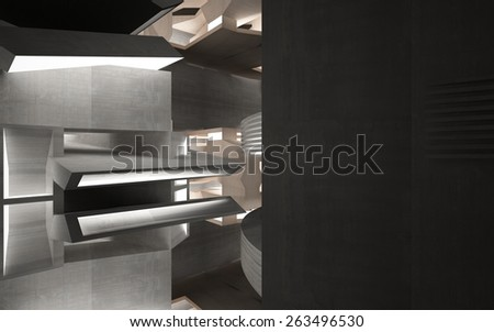 Abstract interior of wood, glass and concrete