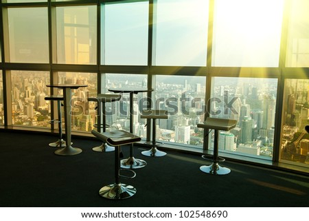 abstract interior office or place for meeting on the top floor in a skyscraper. - stock photo