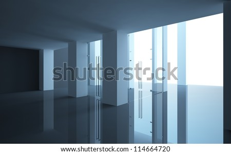 abstract interior office or shop with glass doors and a sloping ceiling - stock photo