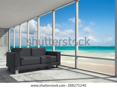 Abstract interior, office room with concrete floor, window and black leather sofa, 3d illustration with ocean coastal landscape on a background - stock photo