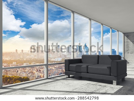 Abstract interior, office room with concrete floor, window and black leather sofa, 3d illustration with big cityscape skyline on a background - stock photo