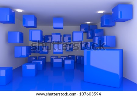 Abstract interior rendering with empty room color box display. - stock photo