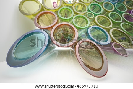 Abstract interior with array of smooth glass colored tubes.. 3D illustration and 3D rendering