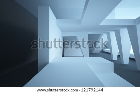 abstract interior with black walls and floors - stock photo